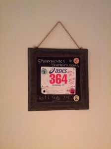 The bib right next to my bed  is a daily reminder of why I runand why I should get up and run no matter how lazy I feel. PRs don't set themselves!